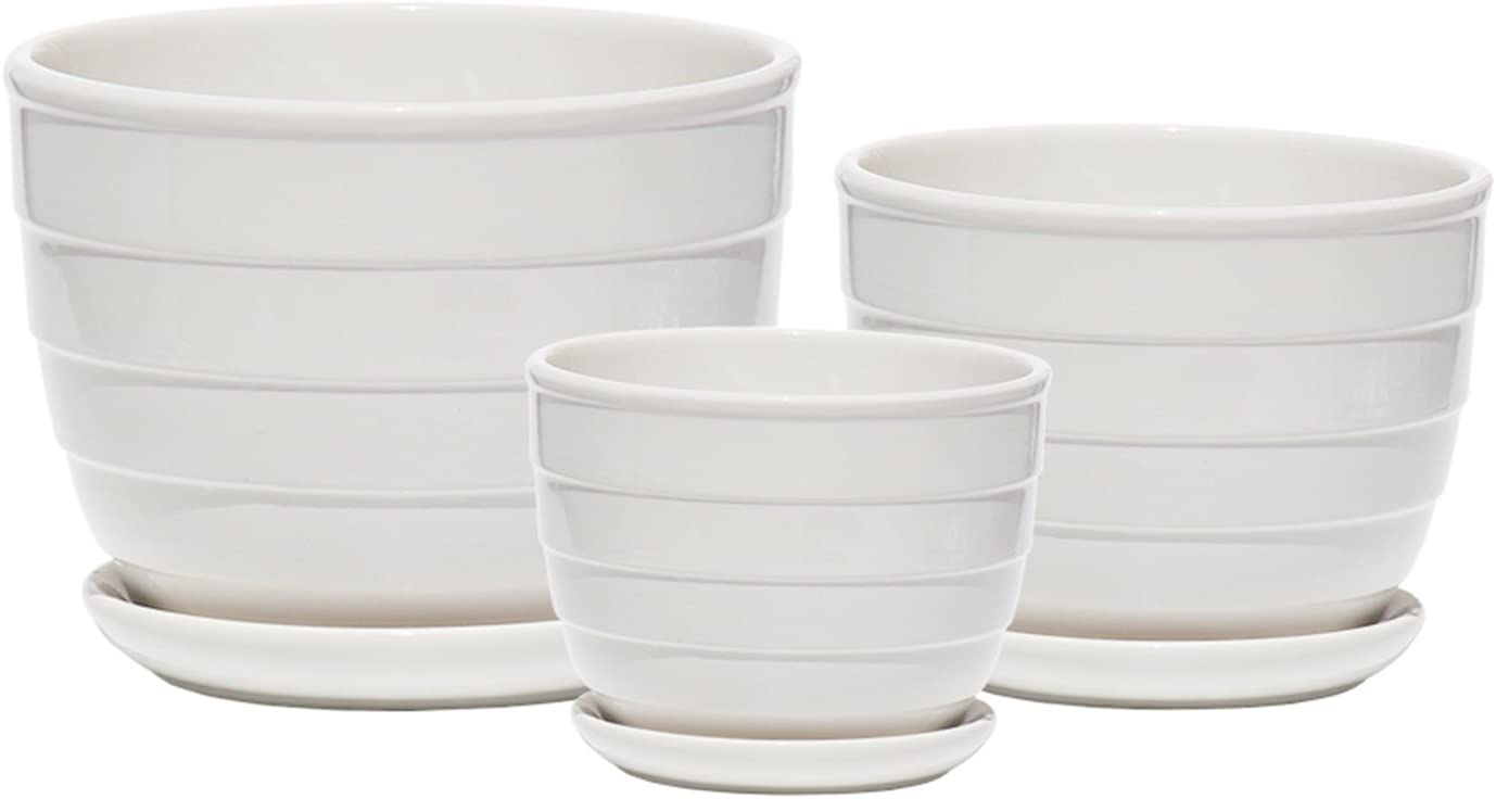 Ceramic Plant Pot – Indoor Garden Flower Planter Pots with Saucers, 4 6 7 Inch Set of 3 White Rotation
