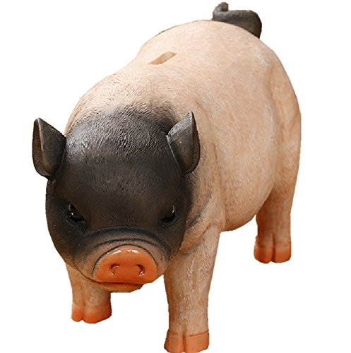 (Amaonm Creative Simulation Resin Pig Coin Money Piggy Bank Bitrthday Gift Toy for Kids Children 10