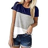 Libermall Women's Casual Summer Short Sleeve T-Shirts O-Neck Stripe Color Block Loose Tunic Shirt Blouse Tops