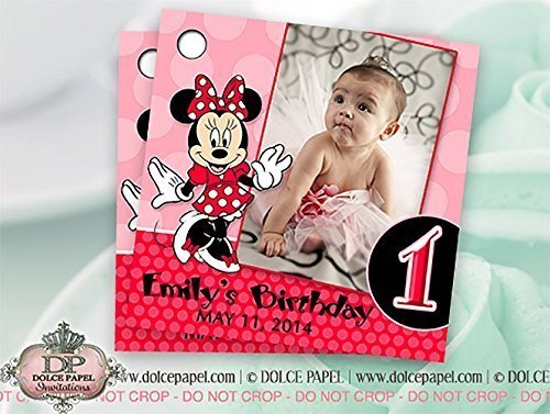 10 Red and Pink Minnie Mouse Custom Photo Birthday Party Favor -