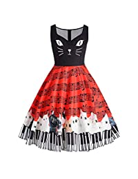 MISYAA Sleeveless Vintage Dresses for Women 1950s Music Note Stripe Floral Print Wedding Prom Dress Empire Waisted Pleated