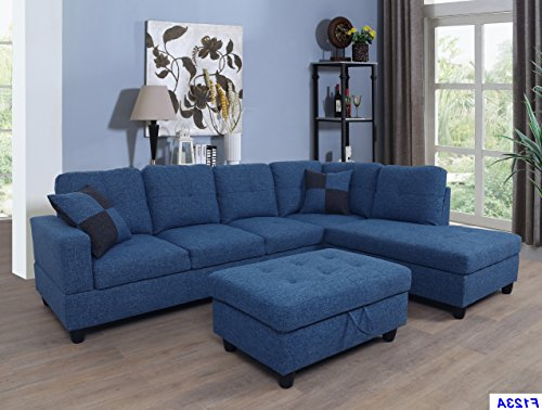 Beverly Fine Furniture F123B Right Facing Linen Russes Sectional Sofa Set with Ottoman, Blue