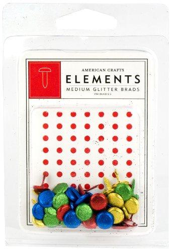 American Crafts Elements Medium Glitter Brads, Primaries (American Crafts Elements Brads)