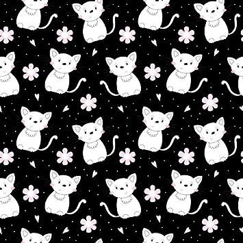 Amazon Com Baocicco Vinyl 5x5ft Black Illustration Backdrop Photography Background Cute White Cat Pink Flower Baby Room Decors Wallpaper Birthday Baby Shower Party Backdrop Photo Studio Camera Photo