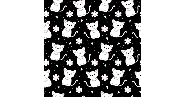 7x10 FT Cat Vinyl Photography Backdrop,Abstract Black Cat Figures with Pinkish Cheeks Modern Design Animals Monochrome Background for Baby Birthday Party Wedding Studio Props Photography