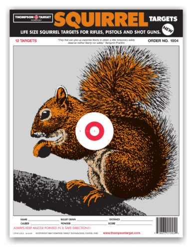Life Size Squirrel - Paper Hunting Shooting Targets 9x12 Inch (12 Pack) - Paper Animal Targets