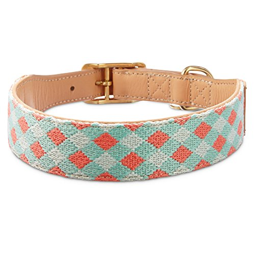 Bond & Co. Turquoise & Coral Knot Dog Collar, for Neck Sizes 18-21, Large/Extra Large, Large/X-Large