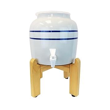 Rayas de color azul dispensador de agua Panera de porcelana con un soporte de madera con