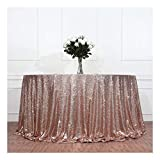 3e Home 50'' Round Sequin TableCloth for Wedding Party Cake Table, Rose Gold