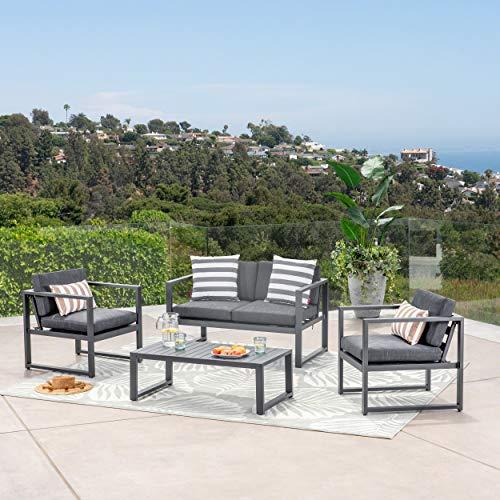 GDF Studio 297269_New Nealie Patio Furniture ~ 4 Piece Outdoor Aluminum Chat Set (Dark Grey) (Sets Patio Clearance Aluminum)