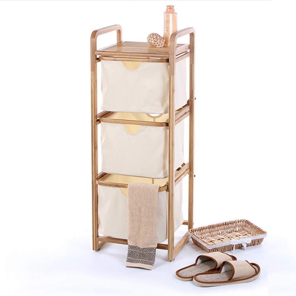 CAFUTY 創造的な家庭用多層竹とオックスフォード布バスルームリビングルーム雑貨コレクションラック (Color : Wood) B07N182M5K Wood