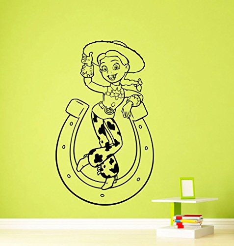 (Jessie Toy Story Wall Decal Disney Cartoons Sheriff Woody Buzz Lightyear Jessie Slinky Dog Vinyl Sticker Nursery Wall Art Teen Kids Room Wall Decor Removable Waterproof Mural)