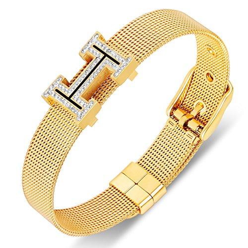 Yeemer Gold Rose Gold Silver Mesh Chain Belt Shape Swarovski Crystal Buckle Bangle Bracelet (Yellow gold) Belt Buckle Bangle Bracelet