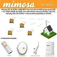 Mimosa A5-14 5GHz 14dBi AP + C5 5GHz 20dBi client 4PACK + G2 PoE 48v 4PACK + J-Mount 5PACK