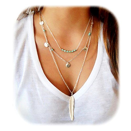 Beads Fashion Jewelry (Suyi Exquisite Sequins Multilayer Chain Turquoise Beads Necklace with Feather Pendent Silver)