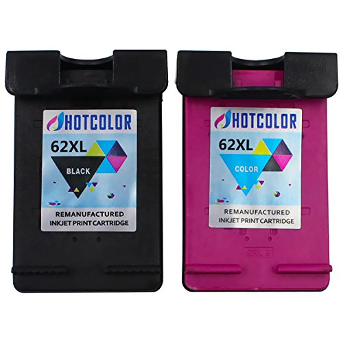 HOTCOLOR 2 Pack (1 Black 1Color) High Yield for HP 62XL Ink Cartridges High Capacity C2P05AN C2P07AN for HP ENVY 7645 OfficeJet 5740 5742 5745 Printer