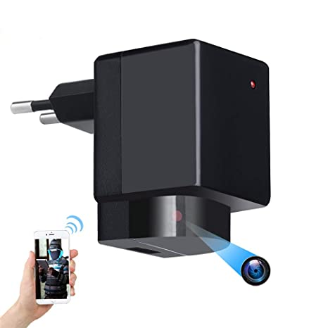 Cámara espía Oculta - 1080P WiFi HD EU Plug Adaptador PTZ® 180 ...