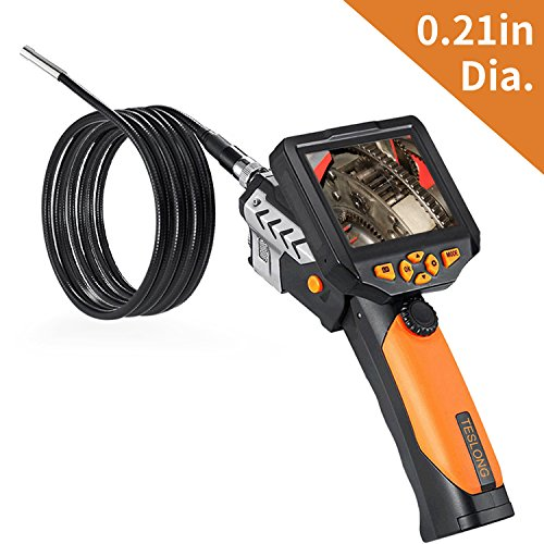 Digital Endoscope, Teslong 0.21inch Semi Rigid Industrial Endoscope Waterproof Borescope Inspection Camera with CMOS Sensor, 3.5inch LCD, 4x Zoom and DVR Digital Video Recording(3m/9.8ft) by Teslong