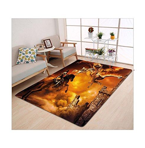 Kisscase Custom carpet Modern Decor Kids Nursery Decor with a Knight on Horse Castle Mystic Fairytale Art Black and Marigold