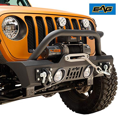 EAG Stubby Front Bumper Rock Crawler with Fog Light Hole and Light Frame Fit for 18-19 Jeep Wrangler JL ()