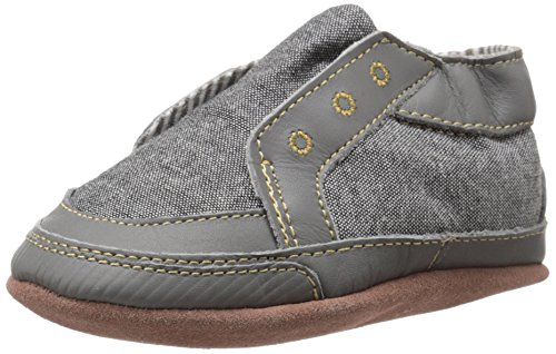 Robeez Stylish Steve Soft Sole Crib Shoe (Infant), Stone, 12-18 Months M US Soft Sole Crib Shoes