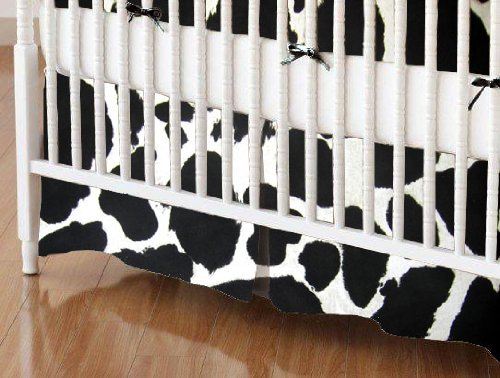 SheetWorld Crib Skirt (28 x 52) - Black Cow - Made In USA