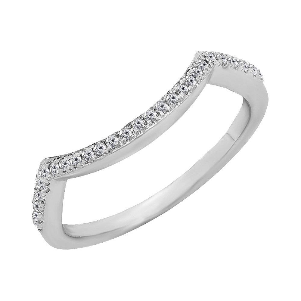 KAASHVEE JEWELS 0.18 Carat (Ctw) 14K White Gold Over Sterling Silver Round Shaped White Diamond Ladies Anniversary Wedding Stackable Band Contour Guard Ring by KAASHVEE JEWELS