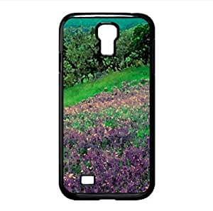 Field of Purple Flowers Watercolor style Cover Samsung Galaxy S4 I9500 Case (Landscape Watercolor style Cover Samsung Galaxy S4 I9500 Case)