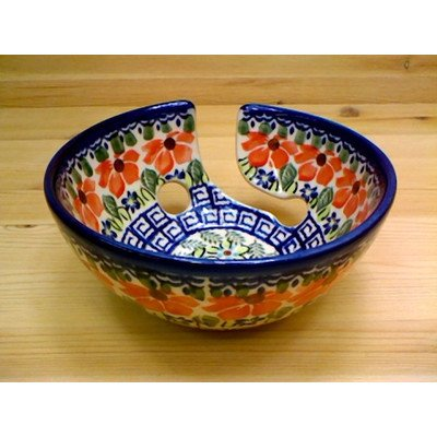 Boleslawiec Stoneware (Polish Pottery Yarn Bowl 6-inch Grecian Fields)
