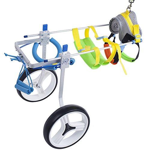 (SURPCOS Adjustable Dog Pet Wheelchair, Front/Hind Legs Rehabilitation, 2 Wheels / 4 Wheels Dog Cart Wheels (2 Wheels-M))