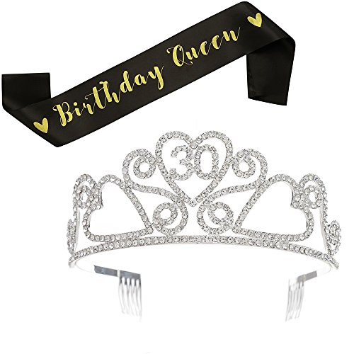 SWEETV Rhinestone Birthday Tiara and Black Glitter Birthday