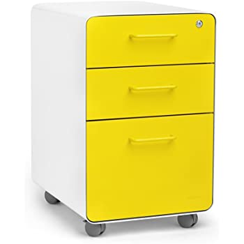 Amazon Com Poppin White Yellow Stow Rolling 3 Drawer