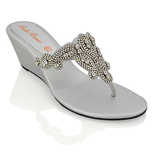 Essex Glam Womens Slip On Toe Post Sparkly Diamante Silver Synthetic Dressy Wedge Heel Sandals 7 B(M) -
