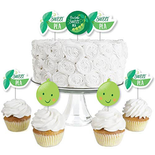 (Sweet Pea in a Pod - Dessert Cupcake Toppers - Baby Shower or First Birthday Party Clear Treat Picks - Set of 24)