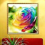 Bazaar 30x30cm 5D DIY Colofrul Rose Diamond Painting Resin Full Rhinestone Flower Cross-stitch Kit