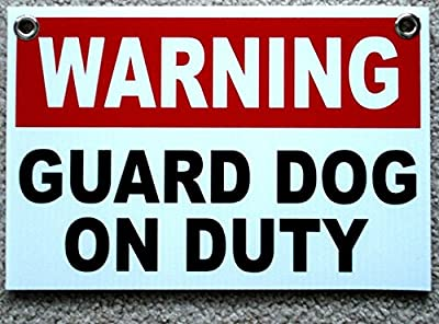 "1 Pc Rousing Unique Warning Guard Dog on Duty Sign Surveillance Outdoor Board Plastic Home Premises Hour Yard Signs Video Hr Reflective Decals Protect Poster Post Door Hanger Size 8""x12"" w/ Grommets"
