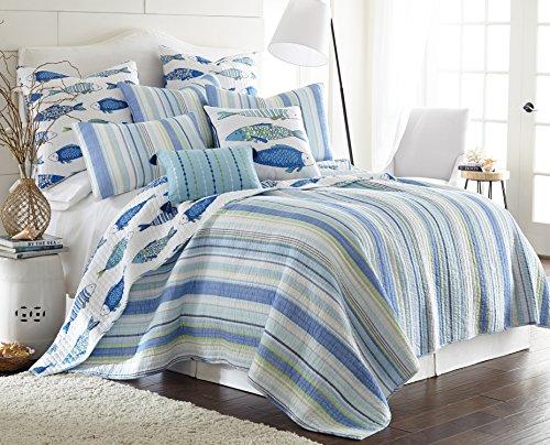 (Levtex Catalina Fish Full/Queen Cotton Quilt Set, Blue)