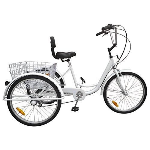 Iglobalbuy White 24-Inch 6-Speed Adult Tricycle Trike 3-Wheel Bike Cruise Bike with Basket
