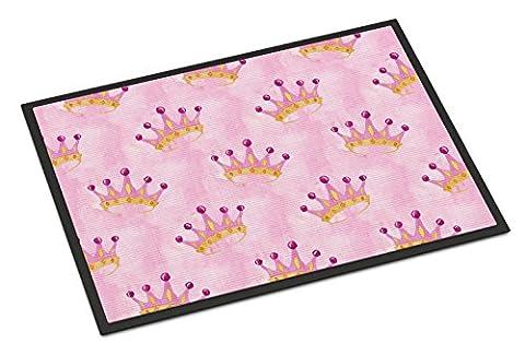 Caroline's Treasures Watercolor Princess Crown on Pink Indoor Or Outdoor Doormat, 18