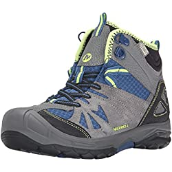 Merrell Capra Mid Waterproof Hiking Boot (Toddler/Little Kid/Big Kid),Grey/Blue,6.5 M US Big Kid