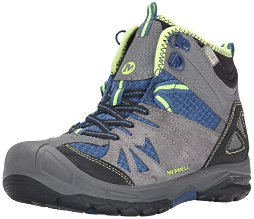 Outdoor Kids Boots (Merrell Capra Mid Waterproof Hiking Boot (Toddler/Little Kid/Big Kid), Grey/Blue, 4 M US Big Kid)