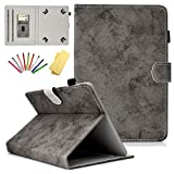 Uliking Universal Tablet Case Cover for 6.5-7.5 inch Android iPad Windows Tablets (7') Ultra Slim Stand Folio PU Leather Protective Wallet Magnetic Shell with Card/Pencil Holder + Stylus, Gray