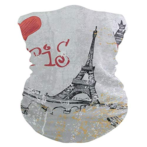 Intage France Street Love Paris Eiffel TowerHeadband Womens Bandana Mens Balaclava,Neck Warmer,Face Mask,Neckerchief Foulard