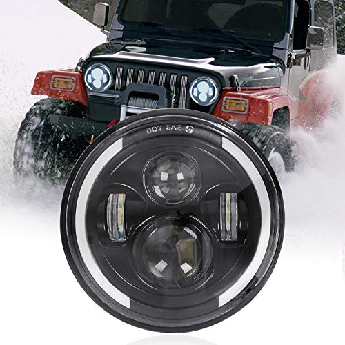 7″ronde LED koplamp, 75W waterdichte motorfiets koplamp rijden licht met DRL richtingaanwijzer Halo Ring hoek ogen voor Harley Davidson FLD/Touring/Softail modellen