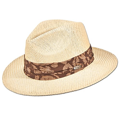 (Panama Jack Matte Toyo Straw Safari Sun Hat with 3-Pleat Ribbon Band (Brown Ribbon, Small/Medium))