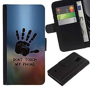 KLONGSHOP / Tirón de la caja Cartera de cuero con ranuras para tarjetas - Dont Touch Phone Hand Painting Stamp - Samsung Galaxy S5 Mini, SM-G800, NOT S5 REGULAR!