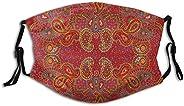 Moroccan Persian Design Oriental Rectangular Paisley Floral Print,Dustproof Windproof Face Mask,Reusable,Washa