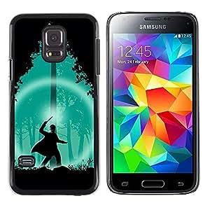 Paccase / SLIM PC / Aliminium Casa Carcasa Funda Case Cover - Green Wizard Forest Night Silhouette - Samsung Galaxy S5 Mini, SM-G800, NOT S5 REGULAR!