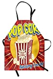 Ambesonne Retro Apron, Vintage Grunge Pop Corn Commercial Print Old Fashioned Cinema Movie Film Snack Artsy, Unisex Kitchen Bib Apron with Adjustable Neck for Cooking Baking Gardening, Multicolor