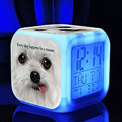 Hot TV Movie A Dog's Purpose Figures Felicie Victor Desktop Alarm Clock with 7 Changing Colors Cute Cartoon LED Clock (Style 5)